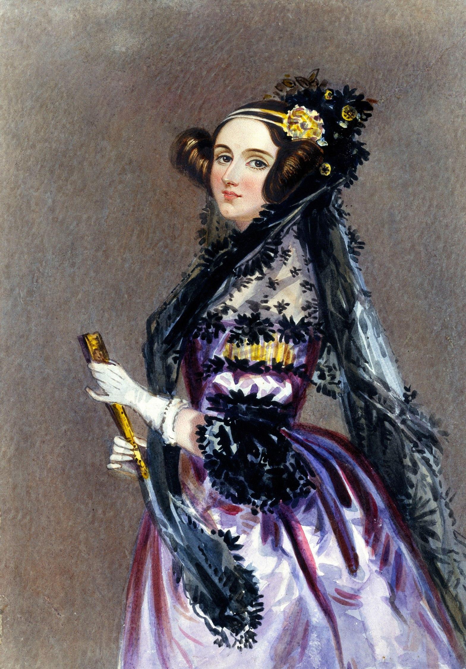 (Wikipedia) Watercolour portait of Ada Lovelace